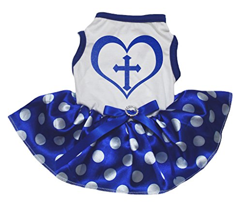 Petitebelle Dog Dress Christian Cross Heart White Cotton Polka Dots Blue Tutu (Kostüme Chanukka)