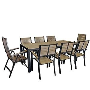 9tlg. Aluminium Polywood Gartengarnitur Terrassenmöbel Set Gartentisch 205x90cm + Hochlehner + Stapelstuhl Gartenstuhl stapelbar Sitzgruppe Sitzgarnitur Gartenmöbel Schwarz / desert grey