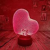 BFMBCHDJ Tagesgeschenke LED Romantik Sweet Love Heart 3D Nachtlicht 7 Farben Gredient Baby Kids Nachtlampe Birthday Xmas