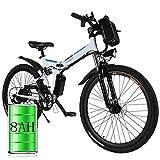 Bicicleta eléctrica de montaña, 250W, Batería 36V E-Bike Sistema de Transmisión de 21 Velocidades con Linterna con Batería de Litio Desmontable (A_Blanco, 26 Pulgadas)