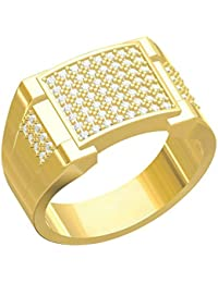Spangel Fashion Designer 18 Ct. Gold Plated American Diamond Jewellery Ring For Men - B07856GBYJ