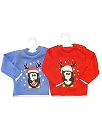 Bébé en Tricot Pull de Noël. Design Pingouin mignon
