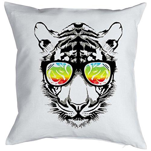 Kissen mit Füllung: Katze, Retro Tiger mit Sonnenbrille, buntes Motiv - Farbe: weiss