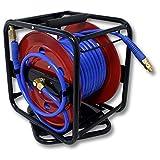 WilTec Dévidoir - Enrouleur de Tuyau pneumatique Portable en Acier 30 m 12 Bar Rotation