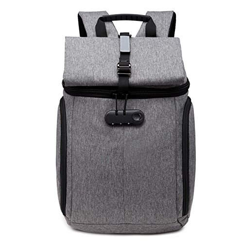 DOXUNGO Unisex Rucksack Schultasche mit Code-Schloss Herren Damen Studenten für Business Studium Reisen Wandern Grau