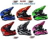 Nuovo Caschi Moto - 3GO K-188 ROCKY Casco Bambini Moto, MX Off road Scooter Enduro Quad Casco Motocross ATV PITBIKE Kids Helm con X1 occhiali (XL (53-54cm), Rosso)