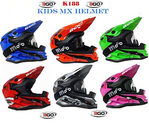 Nuovo Caschi Moto - 3GO K-188 ROCKY Casco Bambini Moto, MX Off road Scooter Enduro Quad Casco Motocross ATV PITBIKE Kids Helm con X1 occhiali (L (51-52cm), Verde)