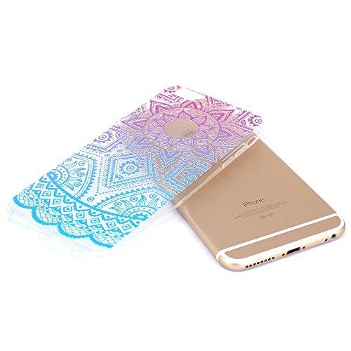 iPhone 6S Plus Hülle, iPhone 6 Plus Hülle, SpiritSun Transparent Schutzhülle für Apple iPhone 6 6S Plus (5.5 Zoll) PC Hart Handyhülle Extrem Dünne Bumper Cover mit Tribal Muster - Bunt Lotus Blume Z-Blau und Lila Sonne Aztec Floral