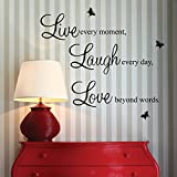 Live every moment,Laugh every day, Love beyond words. with 2x butterfly wall quote art sticker decal for home bedroom decor corp office wall saying mural wallpaper birthday gift for boys and girls by homeking - homeking - amazon.co.uk