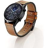Elobeth para Samsung Galaxy Gear S3Classic/frontera Smartwatch banda 22mm hebilla de correa de cuero genuino reemplazo correa muñeca banda para Samsung Gear S3frontera/Classic, color Leather 2 Brpwn
