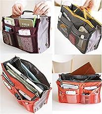 Allmart Enterprise Nylon Multipocket Travel Cosmetic Organizer Pouch/ Handbag (Assorted, AMEHKA074) - Set of 1 Piece