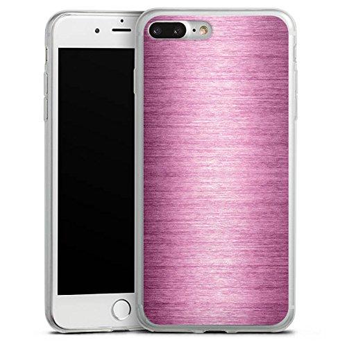 Apple iPhone 8 Slim Case Silikon Hülle Schutzhülle Metal Look - Pink Metall Rosa Pink Silikon Slim Case transparent