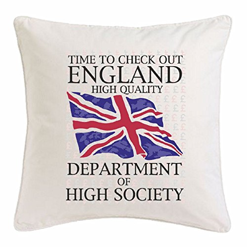 Kissenbezug 40x40cm TIME TO CHECK OUT ENGLAND DEPARTMENT OF HIGHT SOCIETY NEW YORK CITY AMERIKA CALIFORNIA USA ROUTE 66 BIKERSHIRT NY MOTORCYCLE NYC LIBERTY VEREINIGTE STAATEN BRONX BROOKLYN LOS ANGELES MANHATTAN aus Mikrofaser in Weiß