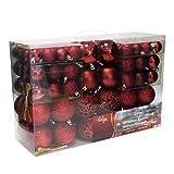 Wohaga® 100 Stück Weihnachtskugeln Christbaumkugeln Baumschmuck Weihnachtsbaumschmuck Baumkugeln, Farbe:Weinrot