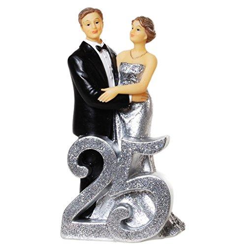 25 Jahre silberne Hochzeit Dekofigur Tischdeko Figur Jubilar Paar Zahl Skulptur US35