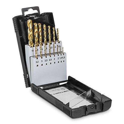 TROTEC HSS-Metallbohrer-Set (15-tlg.), 1,5 bis 10 mm Durchmesser Bohrmaschine Akku-Bohrer Bohrhammer Werkzeug