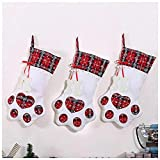 Speed Sell EU Christmas Stockings Pet Paw Dog Cat Paw Pattern Stockings Fireplace Plush Plaid Hanging Stockings for Pet and Christmas Holiday Decoration