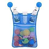 Lalang Baby Badewanne Spielzeug Aufbewahrungstasche Tasche Badespielzeug Netz Organizer Hängender Ordentlich Toys Mesh Beutel Mit 2 Saugwirkung Haken (Blau)