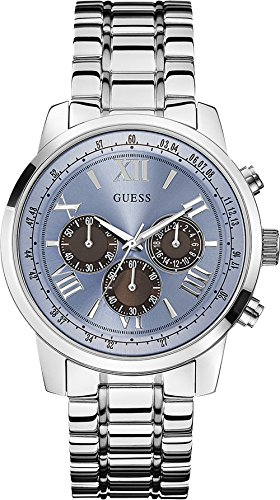 Guess Herren Chronograph Quarz Uhr mit Edelstahl Armband W0379G6 (Herren-uhr Guess)