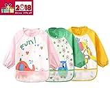 3er Pack Baby lätzchen mit ärmeln Wasserdicht - Essen und Play Smock Schürze für Kleinkinder von 6 - 36 Monate