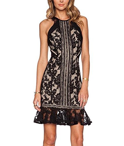DuuoZy Frauen-reizvoller Sleeveless Stickerei-Spitze, figurbetontes Kleid Party Clubwear , black , m (Burlesque Halloween Kostüme 2017)