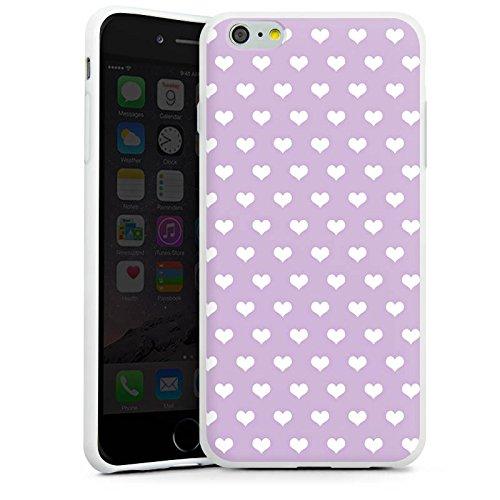 Apple iPhone X Silikon Hülle Case Schutzhülle Herzchen Flieder Polka Silikon Case weiß