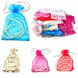 100 Mixed Organza Wedding Favor Gift Bags Jewellery Pouch 13cm X 10cm