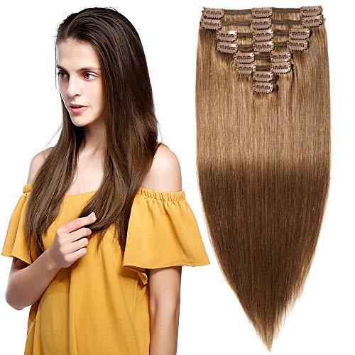 Echthaar Clip in Extensions Remy Haarverlängerung für komplette Haare 8 Tressen Doppelt Dicke 50cm-150g(#6 Mittelbraun)