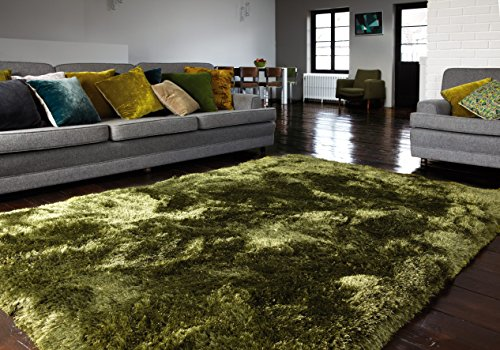 Moderner Designer Teppich Shaggy Plush Hochflor Grün 120x170 cm flauschig 100 % Polyester   kuschelig pflegeleicht weich   Home Teppichboden Einfarbig Marken Teppich   Florhöhe 80mm