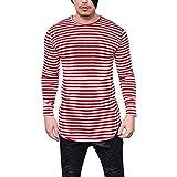 Spätestens Bekleidung Oberteile,Loveso Herren Gestreiftes T-Shirt,Männer Tee Shirts Lange Ärmel Asymmetrischer Saum Schlank Männlich Bluse Tops Slim Fit Streetwear