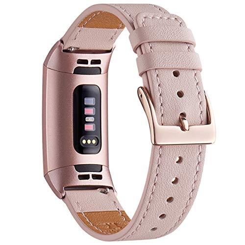 WFEAGL Armband Kompatibel für Fitbit Charge 3 Armband Leder, Klassisch Einstellbares Ersatzarmband Sport Accessories for Damen Männer(ML,Rosa Sand+Roségold Adapter)