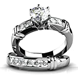Best 1000 Jewels Wedding Ring Sets - 925 Sterling Silver Women Eternity Engagement Wedding B Review