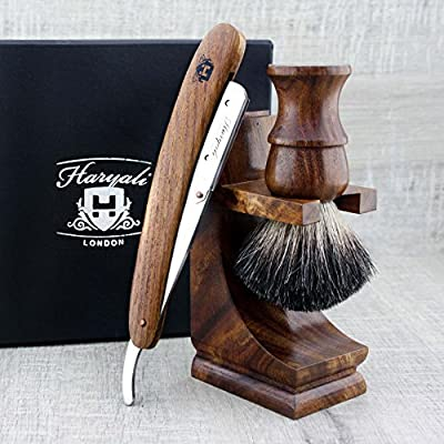 Wooden Shaving Set For Men's. The Set Comes With Shavetee/Cut Throat Razor. The Set Also Includes Shaving Brush With Black Badger Hair & Stand For Both Brush & Razor. Perfect Shaving Set For All Kind Of Shave.