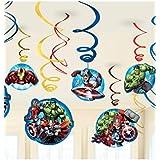 12 Deko-Wirbel * Avengers * für Kindergeburtstag oder Motto-Party // Kinder Geburtstag Kinderparty Party Decken-Deko Deko Swirl Decorations Dekoration Hänge-Deko Motto Marvel Iron-Man Hulk Thor Captain-America Superheld