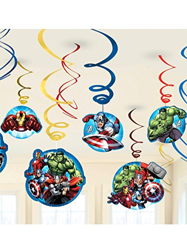 ngers * für Kindergeburtstag oder Motto-Party // Kinder Geburtstag Kinderparty Party Decken-Deko Deko Swirl Decorations Dekoration Hänge-Deko Motto Marvel Iron-Man Hulk Thor Captain-America Superheld (Swirl-party Dekorationen)