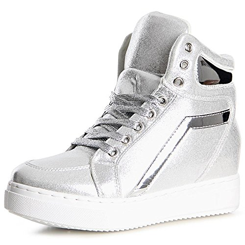 topschuhe24, Sneaker donna Argento