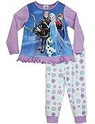 Pigiama per bambine del personaggio Disney Frozen. Questo pigiama viola di Frozen renderà le notti delle tue piccole principesse magiche. La maglia è caratterizzata da una graziosa stampa di Elsa, Anna, Kristoff, Olaf e Sven, con delle manich...