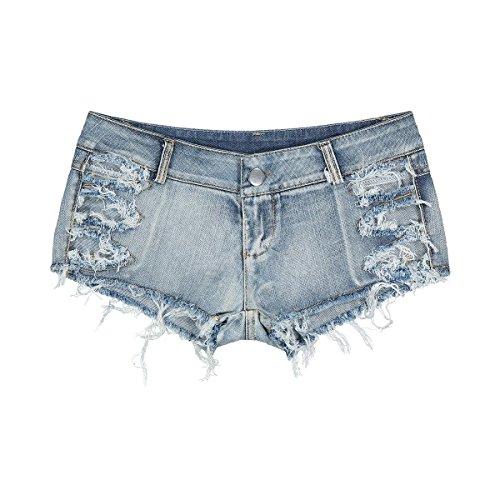 Bikini Und Low Rise Jeans (Ruanyi Mini Denim Shorts, Bikini Sexy Jeans Shorts Sexy Denim Booty Shorts Low Rise Strand Culb Wear für Frauen (Size : M))