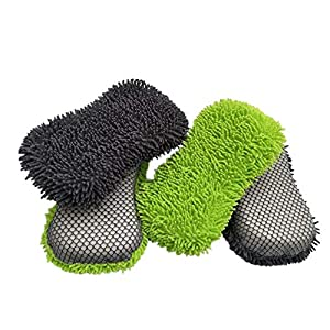 Ljourney Schwamm Block – Autowäsche Reinigungsschwamm Block Auto Reinigungswerkzeug Saugfähiger Schwamm, Fine Bristle Chenille + Sandwich Material