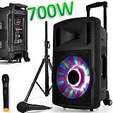 """BM Sonic Lautsprecher """"Sono Mobile DJ PA"""", 700 W, FUZZY12BT, mit LED und Standfuß, Akku und 2 Mikrofonen für Karaoke, 30,5 cm Woofer, mit USB- und SD-Anschluss und Bluetooth"""