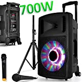 Enceinte SONO Mobile DJ PA 700W FUZZY12BT LED PIED sur Batterie Party Karaoké 2 MICROS 12'/30cm USB SD Bluetooth FAMILLE ENFANT SOIREE