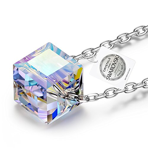 NINASUN Beautiful Life 925 Sterling Silver Women Necklace Pendant Aurore Boreale Cubic Swarovski Crystal Allergen-free Fine Jewellery Valentines Birthday Christmas Xmas Mothers Day Anniversary Gifts