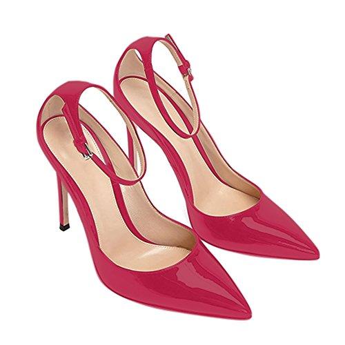 Damen Pumps Spitze Zehen High-Heels Stiletto Lackleder Knöchelriemchen Schnalle Rot