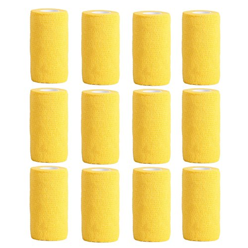 Haftbandage–12Rollen x 10cm x 4,5m, Erste Hilfe, Sport, Bandagen, COBOX Tierarztverband selbstklebende Bandagen, gelb