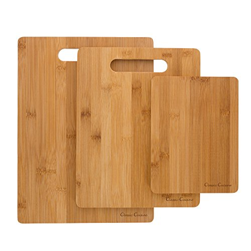3 Piece Bamboo Cutting Board Set- Eco Friendly, Antimicrobial and Antibacterial Chopping and Serving Boards 8x6, 11x8.5, 13x9.5 by Classic Cuisine Medium Chopping Block