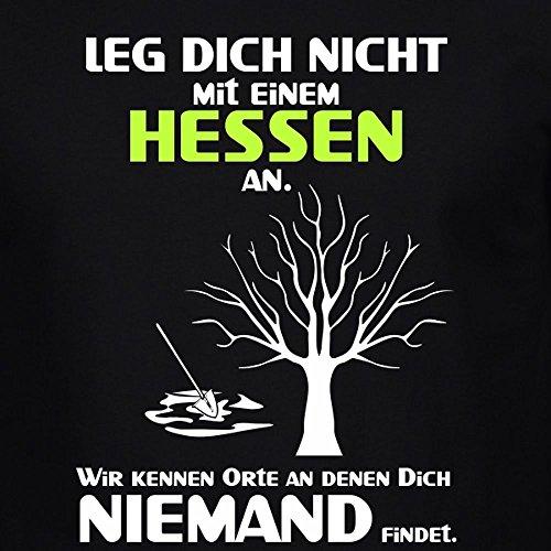 Fun Shirt Herren Leg Dich nicht mit einem Hessen an Sprüche Männer Leg Dich niemals mit Schwarz