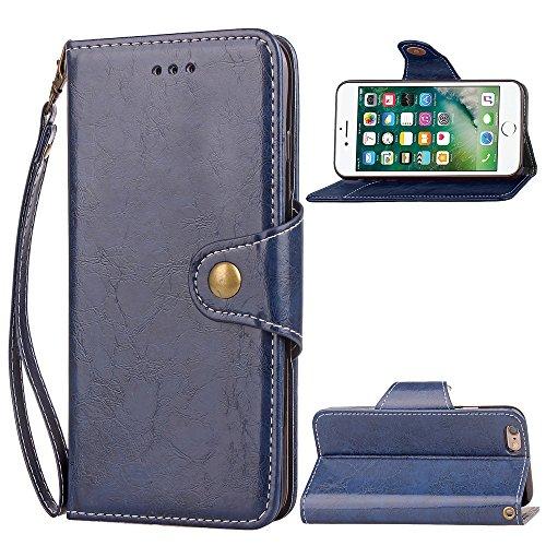 EKINHUI Case Cover Retro dünne Geschäfts-Art-Leder-Kasten-magnetischer Knopf-Verschluss-Luxuxmappen-Standplatz-Beutel-Kasten-Abdeckung mit Lanyard für iPhone 6 u. 6s ( Color : Gold ) Blue