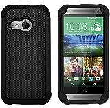 G-Shield HTC One Mini 2 Hülle Silikon Stoßfest Schutzhülle Dünn Tasche Hybrid Armor Cover Case Etui Handyhülle mit Displayschutzfolie und Stylus - Schwarz