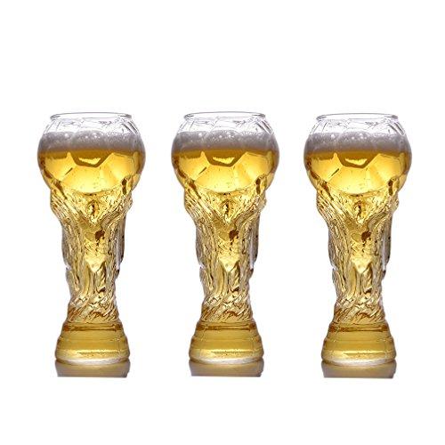 HRRH 2X Bierkrug Glastasse - Personalisierte Weingläser Bierkrüge World Cup Titan Cup Form Am Besten, Geschenk Für Ihren Fußballfan Ihr Freund, Ehemann. 15.8 Unze (450Ml),3Cups (Geschmack Hohe Lippe)