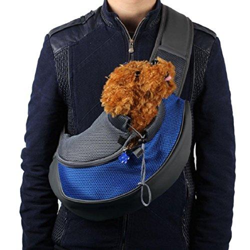 Amison animale domestico cane gatto cucciolo elemento portante maglia viaggi tote spalla borsa zaino (blu, l)